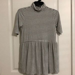 Gray and White Stripe Flowy Maternity Top